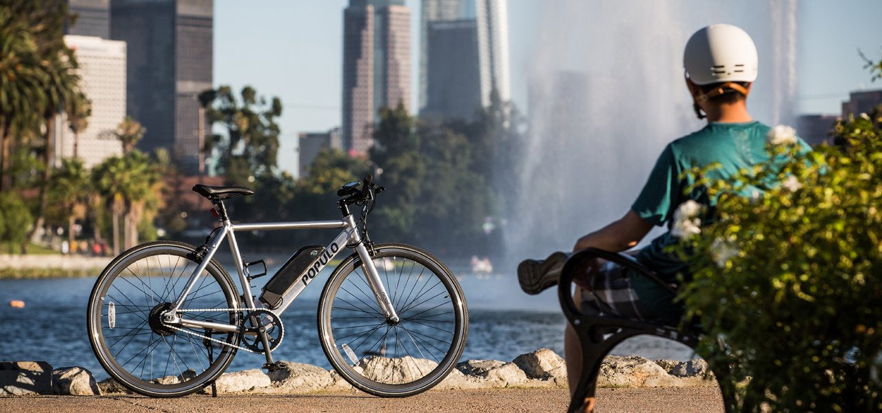Populo Sport EBike infront of Echo Park Lake in Los Angeles