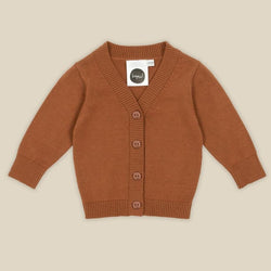 Keep your little one warm and stylish in Chocolate Baby Knit Cardigan by Kapow Kids!