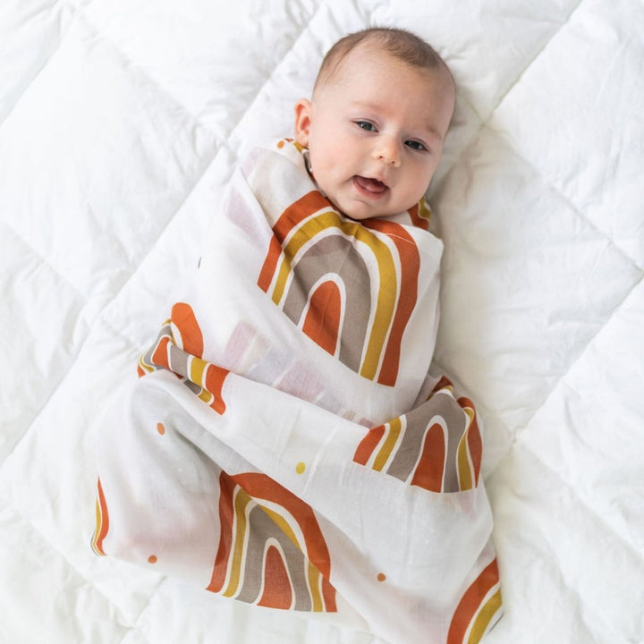 Perfect for gifting is this super soft swaddle wrap featuring a trendy rainbow motif by DiLusso Living!