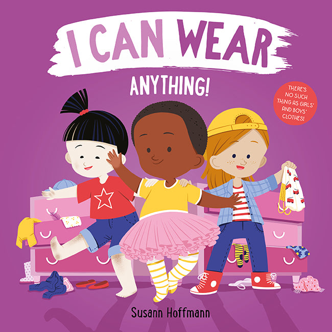 Inclusive, uplifting and celebratory, I Can Wear Anything empowers children to challenge age-old assumptions about 'girls' clothes' and 'boys's clothes' and to express themselves in all their authentic pizzazz, in whatever clothes they enjoy!
