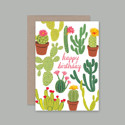 Happy Birthday Cactus Card by Bijou Karman for AHD Cards, A6, Full Colour Front, Blank Greeting Card, Recycled Paper, Vegetable Inks, 100% Recycled Kraft Envelope.  Perfect to send as a greeting card!