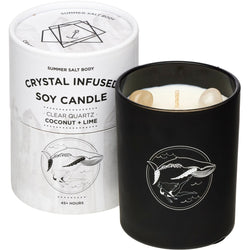 Create magic with the infused Clear Quartz Crystal Candle from Summer Salt Body!