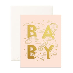 Send warm welcoming vibes with the Baby Universe Cream Card from Fox & Fallows!