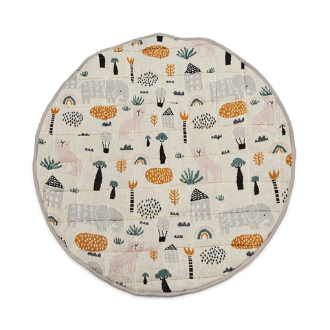 The Asher Animals Playmat from DiLusso Living will be a wonderful addition to your little one's nursery! It is 100% cotton and machine washable.