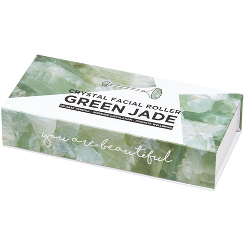 Feel the Crystal healing vibes with this Green Jade Crystal Roller by Summer Salt Body!  This Crystal Roller is a luxurious way to treat your skin.