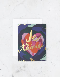 We love the range of cards by Idlewild, including this hand-painted Je'Taime Heart Card in shades of blush pink, magenta and lavender pop against an inky blue-green background. Gold foiling detail says 'I love you.'