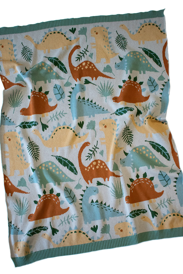 It's almost cosy season, time to wrap Bubs up in the Dinosaur Multi Blanket by Indus!