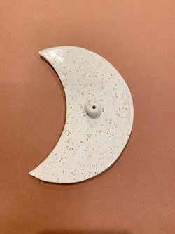We are beyond thrilled to share the stunning Luna Speckled White Incense Holder from The Clay Society!
