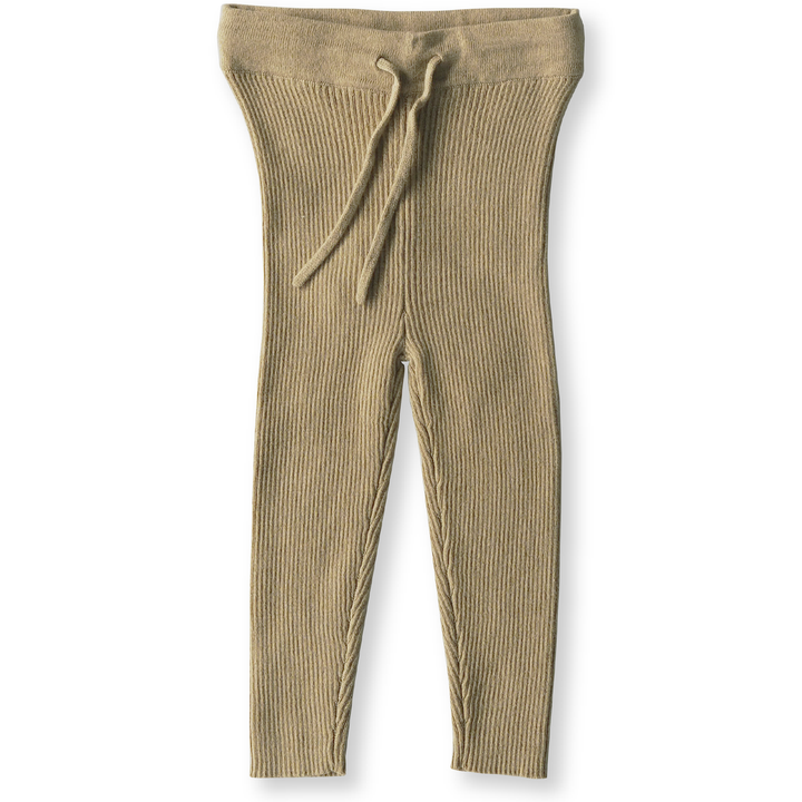 How divine are the Olive Ribbed Leggings from Grown Clothing? These leggings are knitted from an Oatmeal Marle yarn and have an elasticated waistband.