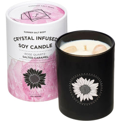 Create magic with the infused Rose Quartz Crystal Candle from Summer Salt Body!