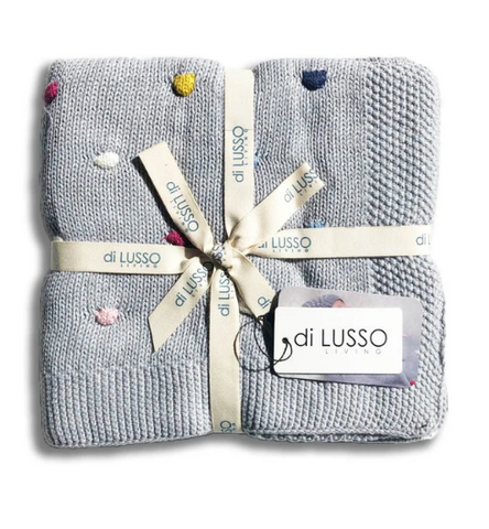 Looking for a useful and SuperCute baby present? Look no further than this Confetti Grey Baby Blanket by Di Lusso!