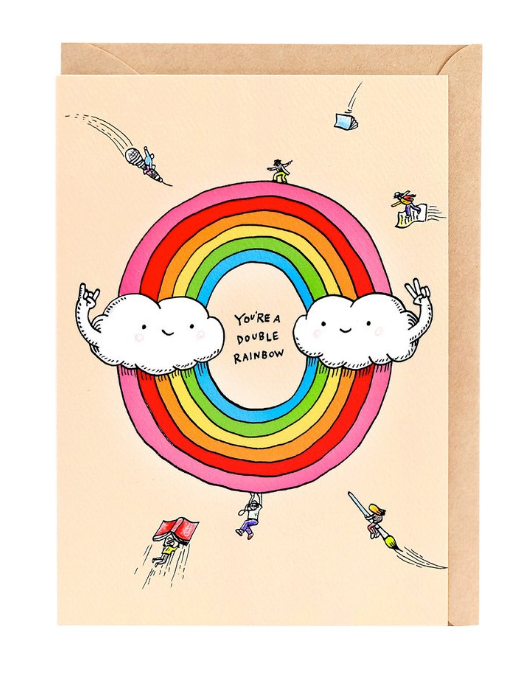 We love the Double Rainbow Card by Melbourne Illustrator Beck of Wally Paper Co.   This gorgeous Wally card is A6 (when folded), and blank inside.