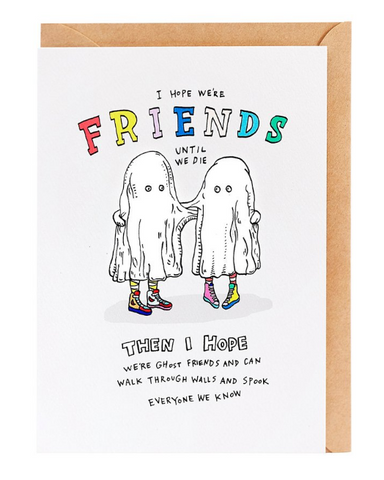 We love the Ghost Friends Card by Melbourne Illustrator Beck of Wally Paper Co.   This gorgeous Wally card is A6 (when folded), and blank inside.