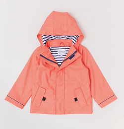 Looking for the perfect raincoat for your little one  then look no further than the Peach Stripy Raincoat  Splash in style with the eye-catching Stripy Sailor Rainkoat.
