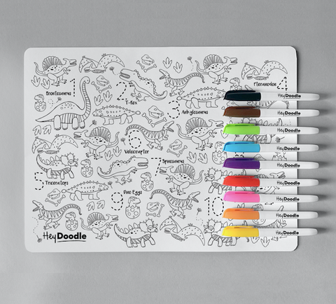 All Supercool kids will be roaring with this Dinoroar reusable silicone placemat from HeyDoodle! They'll get to practice writing the number figures whilst counting to find all items corresponding to it. Best of all, they can do it all again and again by simply washing off the colour.