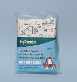 All Supercool kids will love hitting the road with a Toot Toot Honk reusable silicone placemat from HeyDoodle!!