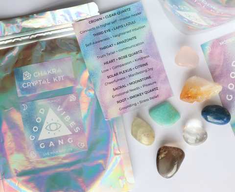 Spread the Good Vibes and live your best life with this Chakra Crystal Pack by Good Vibes Gang. Each chakra has a matching crystal designed to encourage that Chakra to shine brightly! Responsibly sourced crystals blessed with reiki and good vibes hand packed in Melbourne, Australia.
