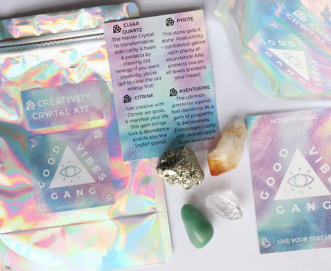 Spread the Good Vibes and live your best life with this Creativity Crystal Pack by Good Vibes Gang. Each crystal will encourage inspiration and get those creative juices flowing! Responsibly sourced crystals blessed with reiki and good vibes and hand packed in Melbourne, Australia.