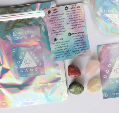 Look to Ancient Wisdom for Increased Fertility to get in touch with the mystical side of motherhood with this Fertility Crystal Kit by Good Vibes Gang.  Responsibly sourced crystals blessed with reiki and good vibes and hand packed in Melbourne, Australia.