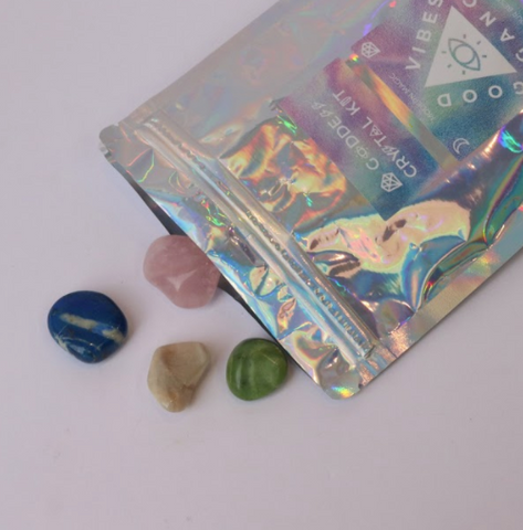 Find your inner Goddess and step into your power with this Goddess Crystal Kit By Good Vibes Gang!  Seek out the sisterhood of modern magic with these crystals that will help you discover your ancient femininity!  Responsibly sourced crystals blessed with reiki and good vibes and hand packed in Melbourne, Australia.