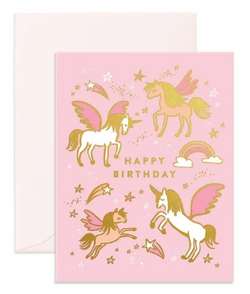 Happy Birthday Unicorns greeting card from Fox & Fallow!