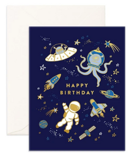 Happy Birthday Space Greeting Card from Fox & Fallow!