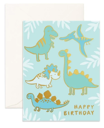 Birthday Dinos Foil Greeting Card from Fox & Fallow!