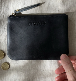 This gorgeous Black Leather Coin Purse from Ovae is perfect to store the essential cards, cash and coins.