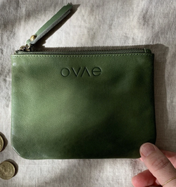 This gorgeous Olive Leather Coin Purse from Ovae is perfect to store the essential cards, cash and coins.