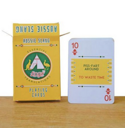 This Aussie Slang Deck Learn a Language playing cards includes 54 Aussie slang translations essential for travellers who want to immerse themselves in the Aussie culture they're exploring - from everyday greetings and introductions, to eating out or moving around.