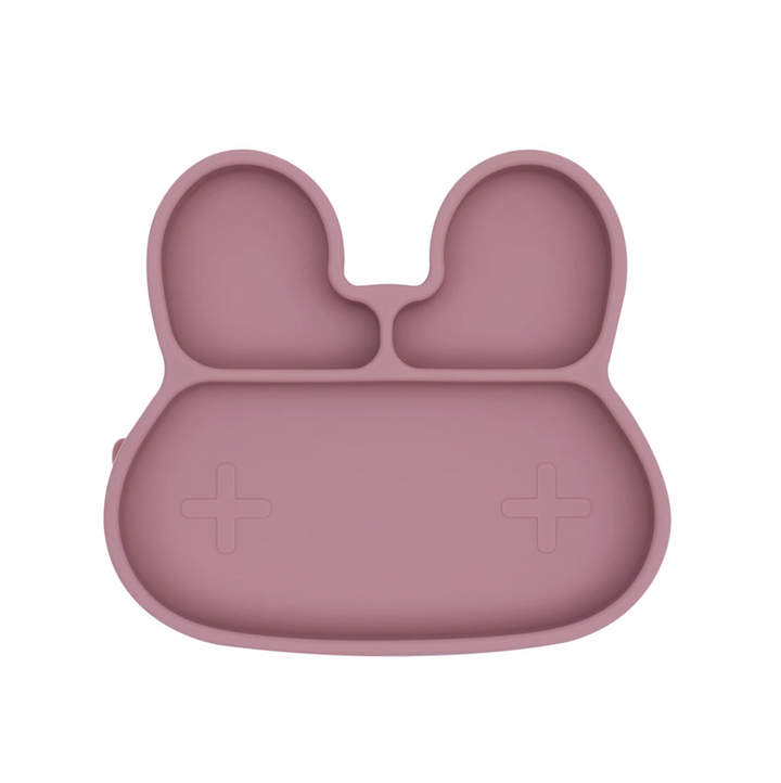 The Bunny Dusty Rose Stickie Plate by We Might Be Tiny puts your little muncher in charge at mealtime.
