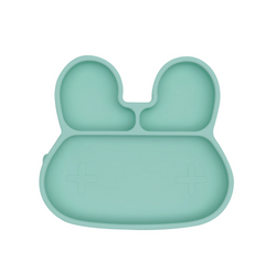 The Bunny Mint Stickie Plate by We Might Be Tiny puts your little muncher in charge at mealtime.