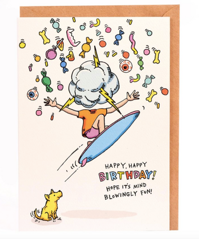 We love the Birthday Mind Blowing Fun Card by Melbourne Illustrator Beck of Wally Paper Co.   This gorgeous Wally card is A6 (when folded), and blank inside.