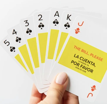Pick up Spanish whilst playing cards with these LINGO Playing cards! Fun + Learning!
