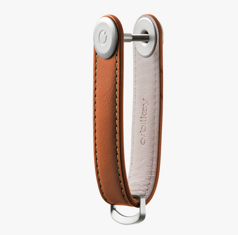 The answer to your pocket jingling woes is the Cognac Leather Orbitkey Organiser!