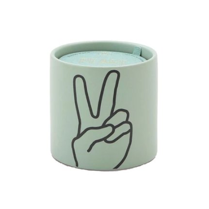 Peace! Express yourself with this Peace Hand Candle impression candle from Paddywax.