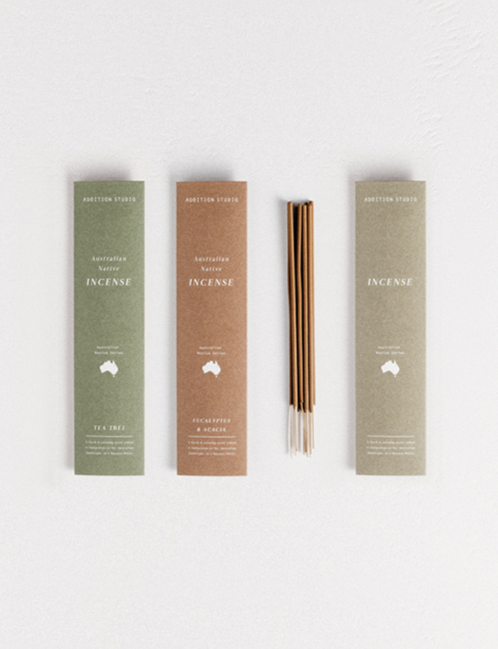 We're zenning out with the Australian Native Incense - Tea Tree from Addition Studios! Such a purifying scent which captures the woody earth tones of the Australian Bush.