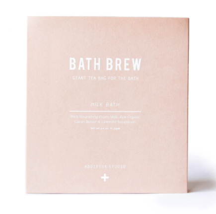 Relax and rejuvenate with the Milk Bath Brew by Addition Studios.  Bath Brew is a giant tea bag for the bath, used as a remedial & relaxing bath soak. Steep in this tonic and enjoy the benefits.