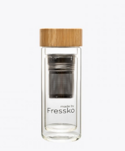 The Rise Flask made by Fressko. We love to brew as we go... and these awesome glass flasks do the job perfectly.