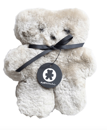 Soft, cuddly and flat, the FLATOUTbear is made of 100% pure Australian sheepskin shaped like a teddy bear