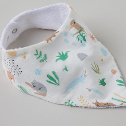 These Outback Dreamers Bibs by Halcyon Nights will compliment your present!  These Baby Dribble or teething bibs are super soft and match back perfectly the same printed clothing and accessories!