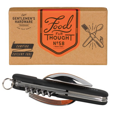 Going camping? You'll need this Camping Cutlery Tool set by Gentleman's Hardware. It features a knife, fork, spoon, cork screw, bottle opener and a foil cutter