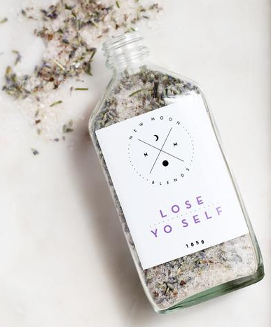 Have some quiet self care time with this Lose Yo Self Bath Salts by New Moon Blends!   Lose your self in this soothing mixture of Himalayan salts, dead sea salts, Epsom salts and lavender buds.