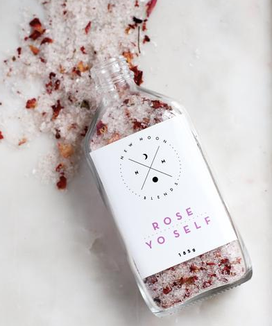Have some quiet self care time with the Rose Yo Self Bath Salts by New Moon Blends!   These rose geranium bath salts are perfect for a relaxing soak. Epsom salts helps to ease stress, improves sleep and reduces inflammation.