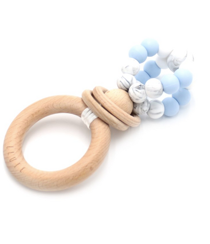 Ease your bubs teething with these Ring Pop Teethers in Marble Blue!  Designed by Lluie in Melbourne, Australia; the ring pop teething Rattle™ twists 360 degrees, rattles beautifully and allows for a good hearty chomping session!