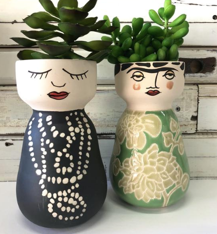 The Frida Face Vase by Jones & Co!  Oh Frida, how we love you with your iconic style and superb mono brow... Create a crown of greenery for her or add some exotic blooms just as the real Frida would have done!