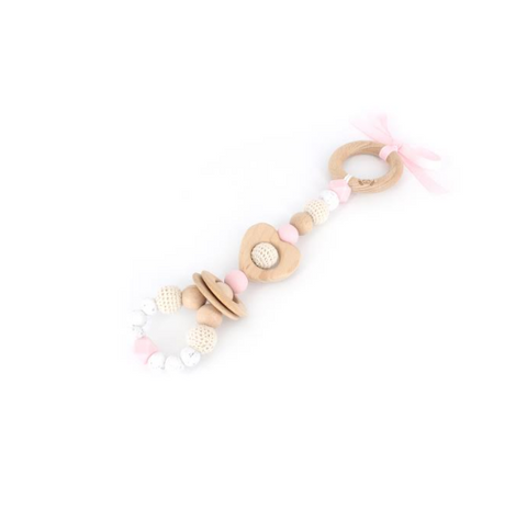 Pink Love Teething Rattle Toy