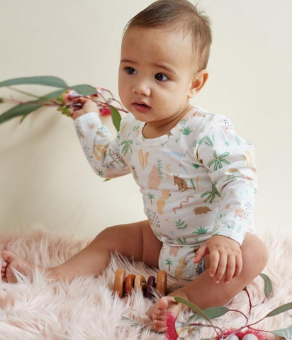 The Outback Dreamers by Halcyon Nights print is full of native animals, plants and rocks. This long sleeve onesie is made from the softest cotton and elastane blend.