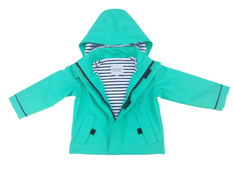 Looking for the perfect raincoat for your little one, then look no further than the Minty Stripy Raincoat  Splash in style with the eye-catching Stripy Sailor Rainkoat.