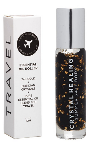Feel the crystal vibes of the Travel Crystal Oil Roller by Summer Salt Body!!  Obsidian infused oil with an Obsidian rollerball to offer protection while travelling.